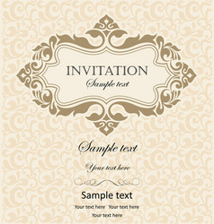 Vintage invitation with ornament and place for vector