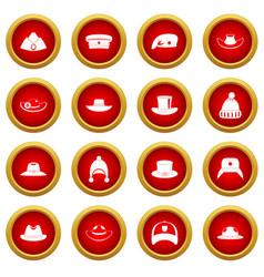 headdress hat icon red circle set vector image
