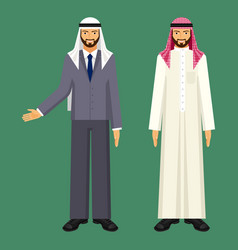 Arabic businessman in casual ethnic clothing and vector