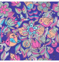 Cute colorful floral seamless pattern with bird vector