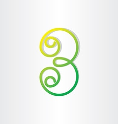 Number 3 or letter b green symbol vector