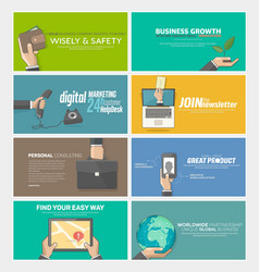Flat web infographics concept banners for business vector