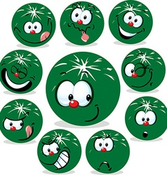 Melon icon cartoon with funny faces isolated on vector