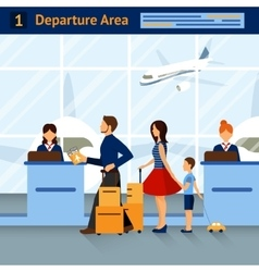 Scene in airport departure area vector