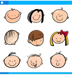 Cartoon kids faces set vector