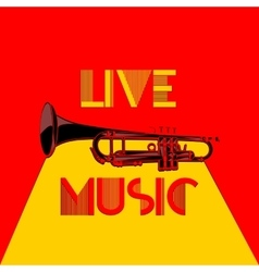 Live music trumpet yellow and red 2 vector
