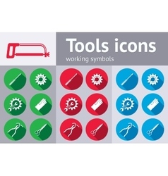 Tools icons set saw pliers tongs wrench key vector