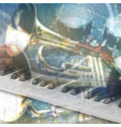 abstract blue grunge music background with piano vector image