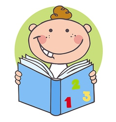 Happy boy reading a book vector