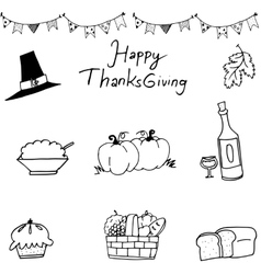 Happy thanksgiving element in doodle vector