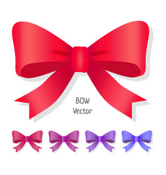 Bow set isolated colors of present bows vector