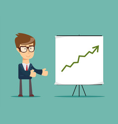 Businessman and growth chart vector