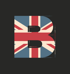 Capital 3d letter b with uk flag texture isolated vector