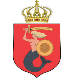 Coat of arms of warsaw poland vector