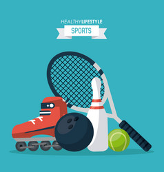 Colorful background of healthy lifestyle sports vector