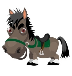 Dark stallion with red eyes cartoon character vector