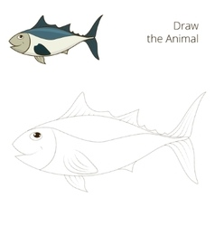 Draw the fish tunny educational game vector image vector image