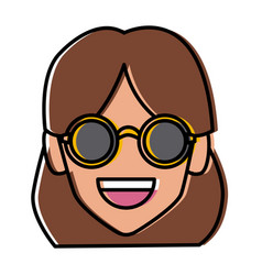 Geek girl with round frame glasses vector