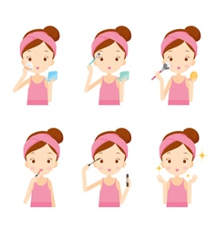 Girl Makes Up With Various Actions Set vector image vector image
