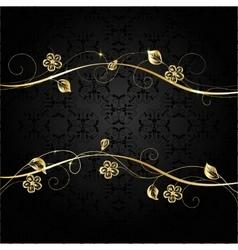 Gold frame on dark background vector