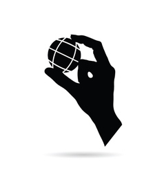 hand with planet earth black vector image vector image