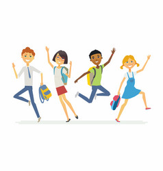 happy jumping schoolchildren - cartoon people vector image
