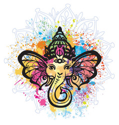 Hindu lord ganesha over mandala pattern vector