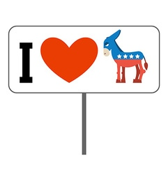 I love Democrats Symbol of heart and donkey Poster vector image