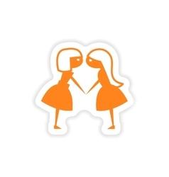 Icon sticker realistic design on paper girlfriends vector
