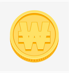Korean won currency symbol on gold coin vector
