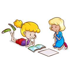 Little girls studying vector image