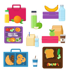 lunch boxes set with vegetables fruits snacks vector image vector image