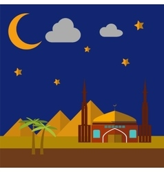 Mosque On Sand Dunes vector image vector image