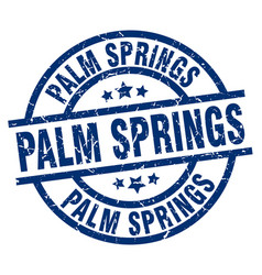 Palm springs blue round grunge stamp vector