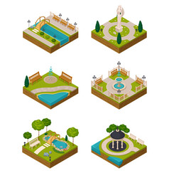 Set of isometric landscape design compositions vector
