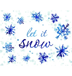 Watercolor snowflake card vector image vector image