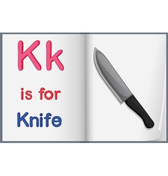A picture of a knife in a book vector