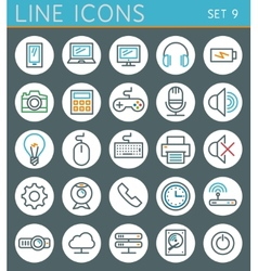Technology line icons set web design elements vector