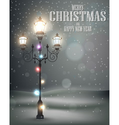 Christmas vintage background with lamp vector image