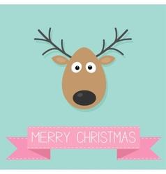 Cute cartoon deer with horn Merry christmas vector image