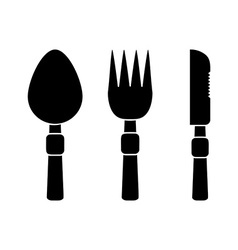 Fork spoon and knife icons vector