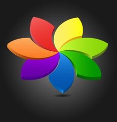 3D flower chromatic wheel vector image vector image