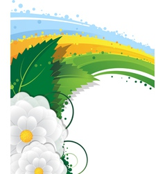 Flowers and rainbow vector
