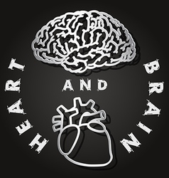 Paper cut of brain and heart vector