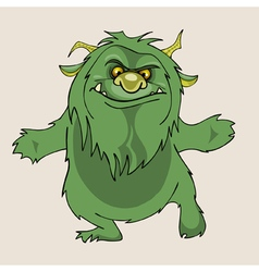 Cartoon green shaggy beast vector