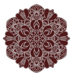Hand drawing zentangle mandala element in marsala vector