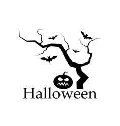 Silhouette of halloween tree pumpkin and bats vector