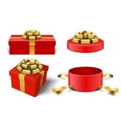 Red gift boxes and with golden bow ribbon vector