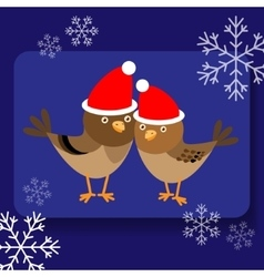 Background with two cute birds in santa hats vector