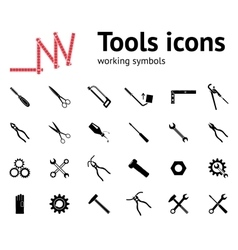 Tools icons set glue pliers tongs wrench key vector